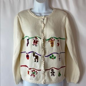 Ugly Christmas Sweater Button Authentic J Khaki
